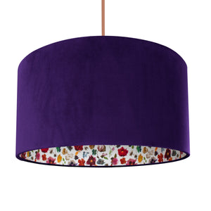 NEW: Liberty of London Floral Edit with purple velvet lampshade