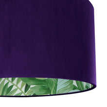 Load image into Gallery viewer, NEW! Purple velvet with green leaf lampshade