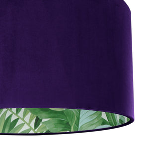 NEW! Purple velvet with green leaf lampshade