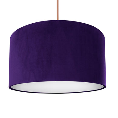 NEW! Purple velvet with opaque white liner lampshade