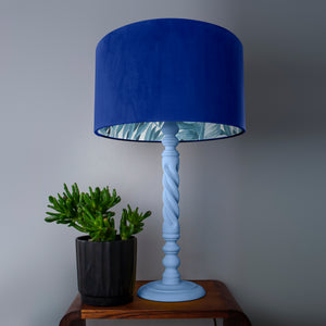NEW! Royal blue velvet with blue leaf lampshade