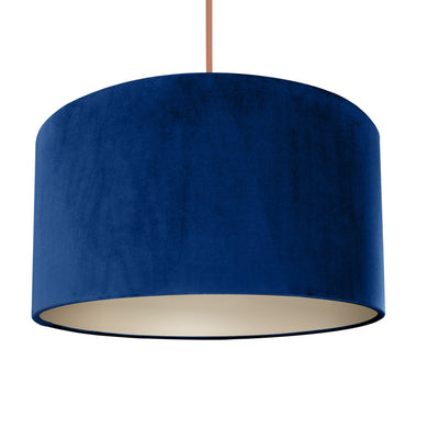 NEW! Royal blue velvet with champagne liner lampshade