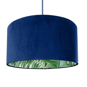 NEW! Royal blue velvet with green leaf lampshade