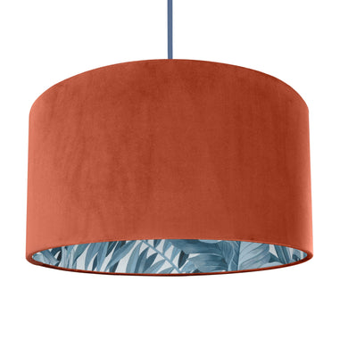 NEW! Rust orange velvet with blue leaf lampshade