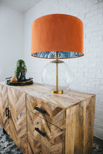 Load image into Gallery viewer, NEW! Rust orange velvet with blue leaf lampshade