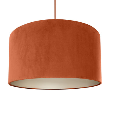 NEW! Rust orange velvet with champagne liner lampshade