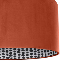 Load image into Gallery viewer, NEW! Rust orange velvet with monochrome dot lampshade