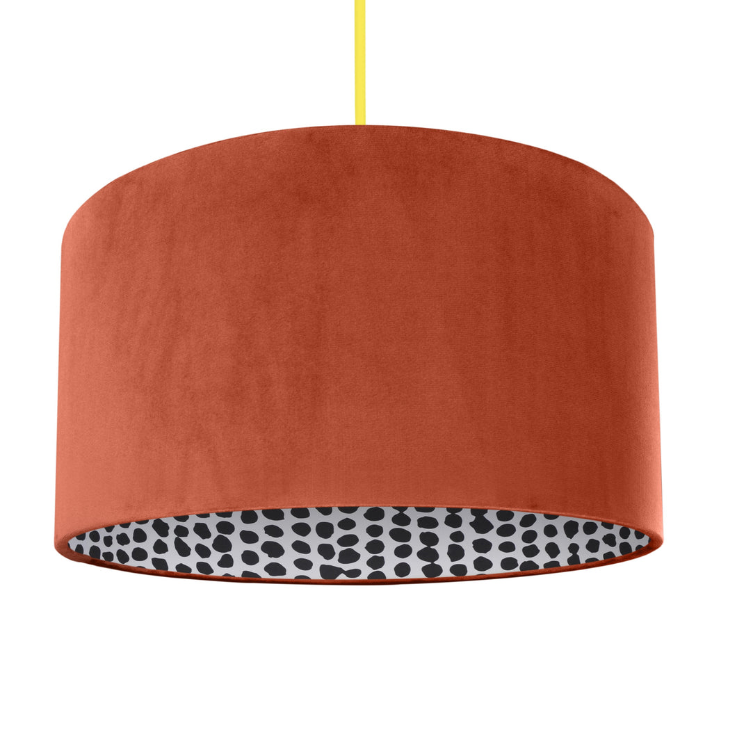NEW! Rust orange velvet with monochrome dot lampshade