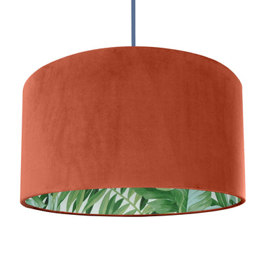 NEW! Rust orange velvet with green leaf lampshade