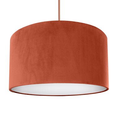 NEW! Rust orange velvet with opaque white liner lampshade