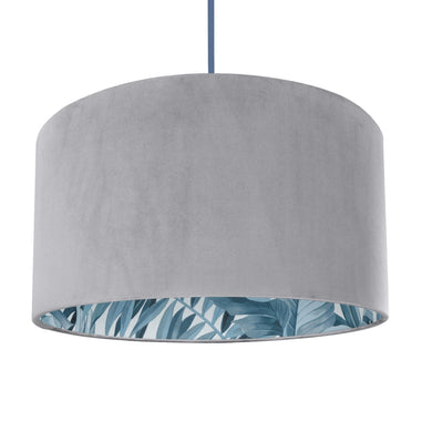 NEW! Soft grey velvet with blue leaf lampshade