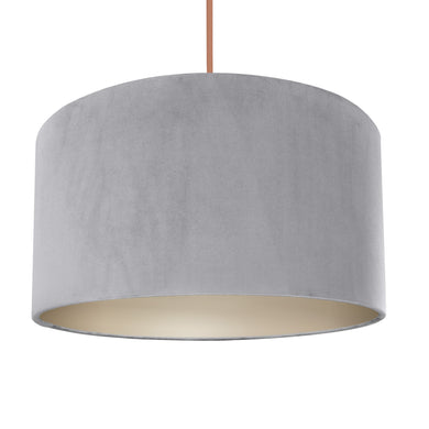 NEW! Soft grey velvet with champagne liner lampshade