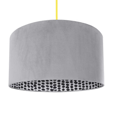 NEW! Soft grey velvet with monochrome dot lampshade
