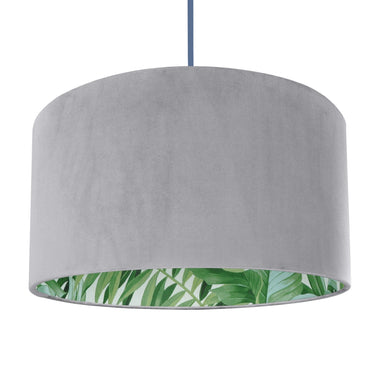 NEW! Soft grey velvet with green leaf lampshade