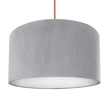 NEW! Soft grey velvet with opaque white liner lampshade