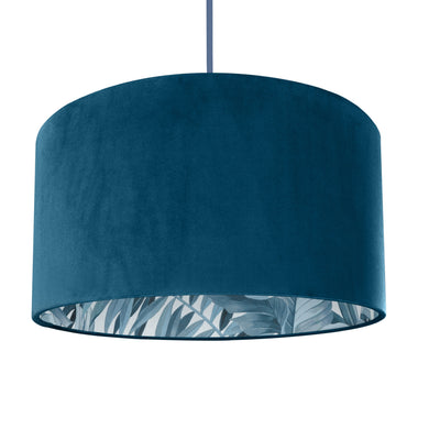 New! Teal velvet with blue leaf lampshade