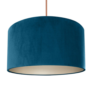 Teal velvet with champagne liner lampshade