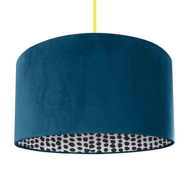NEW! Teal velvet with monochrome dot lampshade