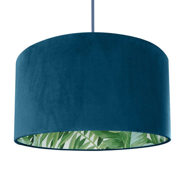 New! Teal velvet with green leaf lampshade