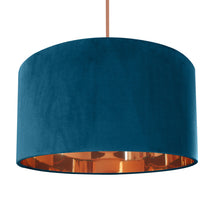 Load image into Gallery viewer, Teal velvet with mirror copper liner