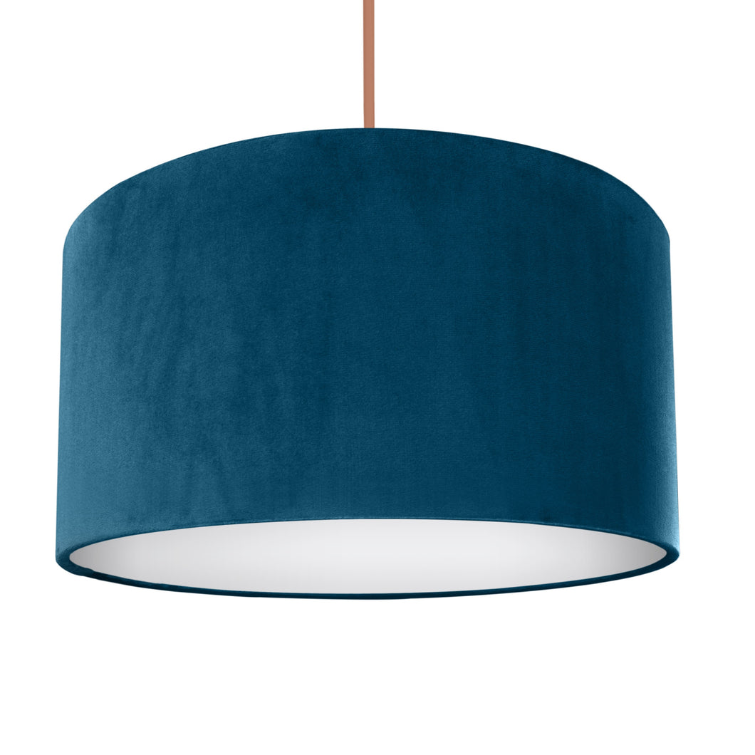 Teal velvet with opaque white liner lampshade