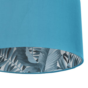 Turquoise velvet with blue leaf lampshade