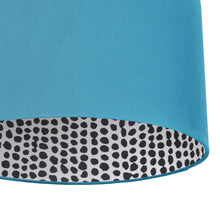 Load image into Gallery viewer, NEW! Turquoise velvet with monochrome dot lampshade