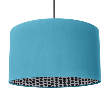 NEW! Turquoise velvet with monochrome dot lampshade