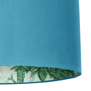 NEW: Palm leaf with turquoise velvet lampshade