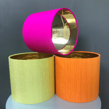 Load image into Gallery viewer, Hot pink silk lampshade with mirror gold liner