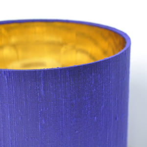 Violet silk lampshade with mirror gold liner