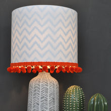 Load image into Gallery viewer, NEW! Crisp white cotton and monowave lampshade with optional pom-pom trim