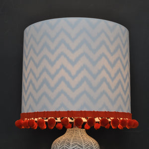 NEW! Crisp white cotton and monowave lampshade with optional pom-pom trim