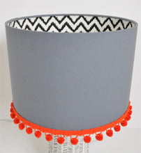 Load image into Gallery viewer, Monochrome and grey lampshade with optional pompom trim