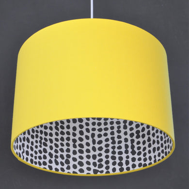 Sunshine yellow cotton with monochrome dot wallpaper lampshade