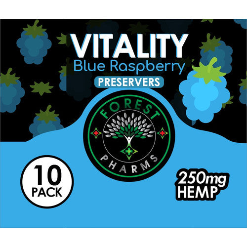 Forest Pharms Vitality Hemp Gummie 250 MG Blue Raspberry Flavored