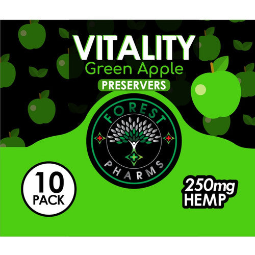 Forest Pharms Vitality Green Apple CBD Gummies  250 MG  Flavored