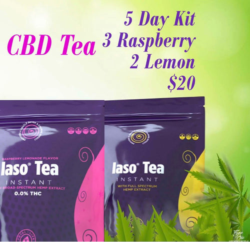 5 Day Sample CBD Detox Tea Variety Pack - 3 Raspberry 2 Lemon