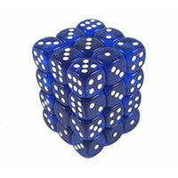 12mm d6 Translucent 36 Dice Blue/White