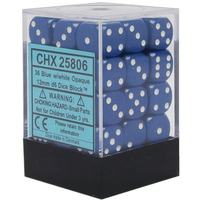 12mm d6 Opaque 36 Dice Blue/White