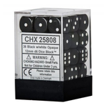 12mm d6 Opaque 36 Dice Black/White
