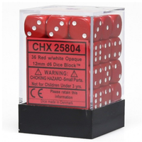 12mm d6 Opaque 36 Dice Red/White