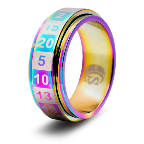 CritSuccess d20 Ring Rainbow Size 8