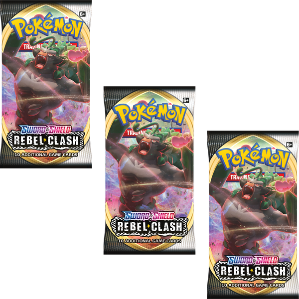 Pokemon TCG Sword and Shield Rebel Clash 3x Booster Packs