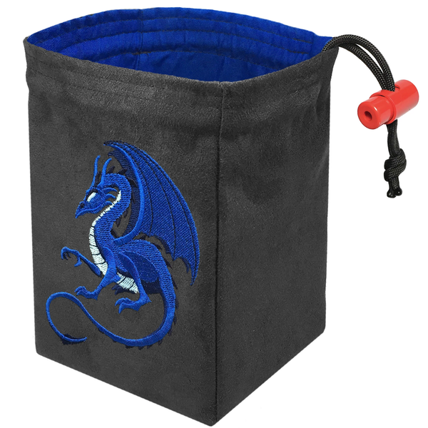 Dice Bag Embroidered Fantasy Blue Dragon