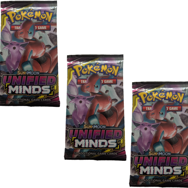 Pokemon TCG Sun and Moon Unified Minds 3x Booster Packs