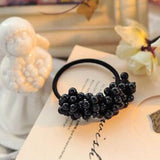 New Korean Fashion Women Hair Accessories imitation pearl Black Elastic Hair Bands Girl Hairband Hair Rope Gum Rubber Band t59