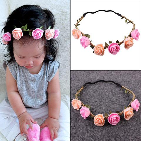 Baby Cute Flower Headband Stretchable Rose Headwear Infant Elastic Hairband for Girls Children Hair Band Hair Accessories