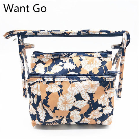 Want Go Transparent PVC Cosmetic Bag Women Travel Toiletry Bag Set /3pcs Make-up Organizer Pouchg Floral Cosmetic Storage Bags