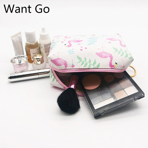 Want Go Flamingos Print Women Cosmetic Bag Leather Makeup Organizer Pouch Zipper Wash Bag Beauty Woman Toiletry Storage Bag